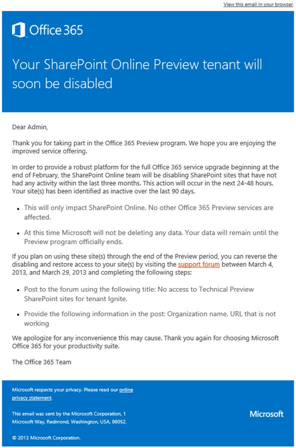 Desativação dos sites de SharePoint Online do Novo Office 365