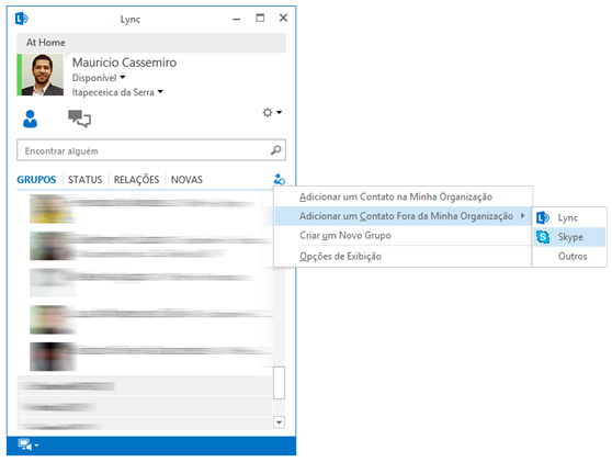 Adicionando contato de Skype ao Lync
