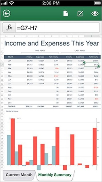 Excel Mobile para iPhone