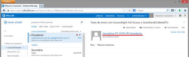 AccessRight Full Access e GrantSendOnBehalfTo funcionando