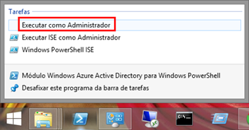 Caixa de Diálogo Executar Módulo Windows Azure Active Directory para Windows PowerShell com privilégios elevados