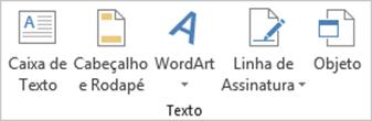 Guia Inserir Excel - Extensão do Grupo Texto