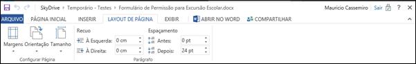 Guia Layout de Pagina Word Web App