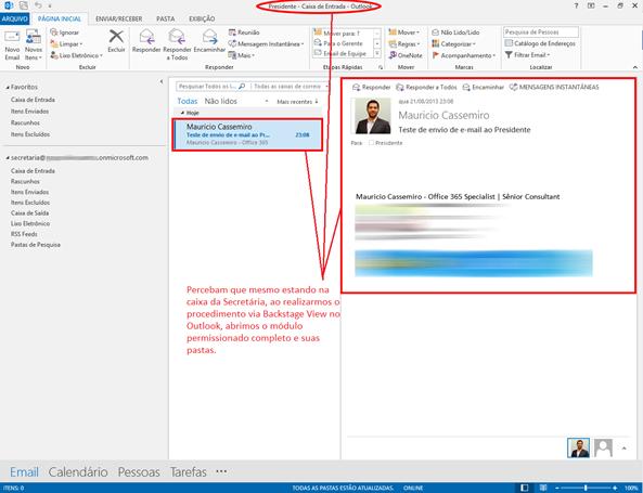 Pasta Caixa de Entrada da conta Presidente sendo acessada pela conta Secretária via Outlook