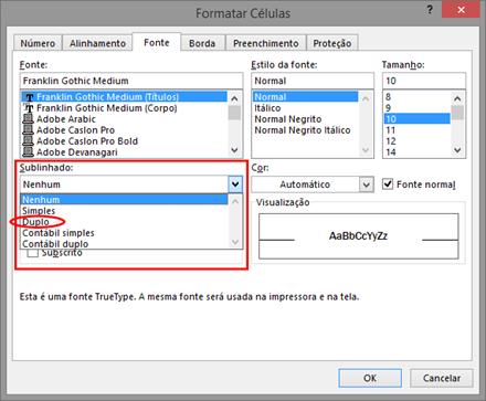 Sublinhado Duplo - Excel