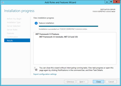 Add Feature .NET Framework 3