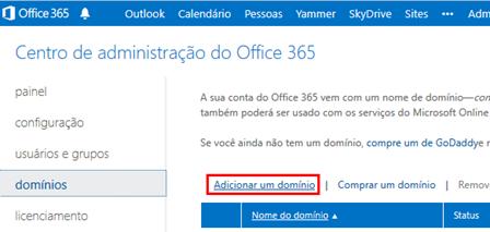Adicionando um domínio no Office 365