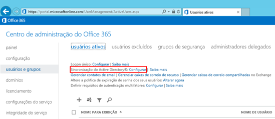 Sincronização do Active Directory