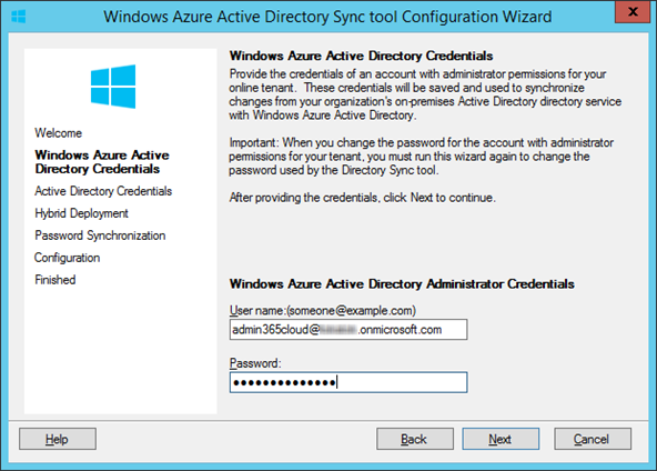 Windows Azure Active Directory tool Configuration Wizard