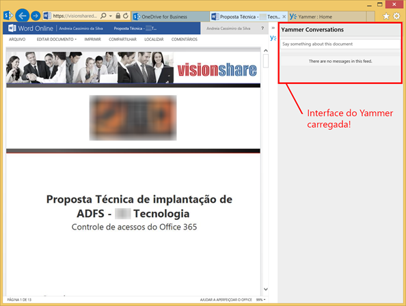 Interface do Yammer carregada no Office Online