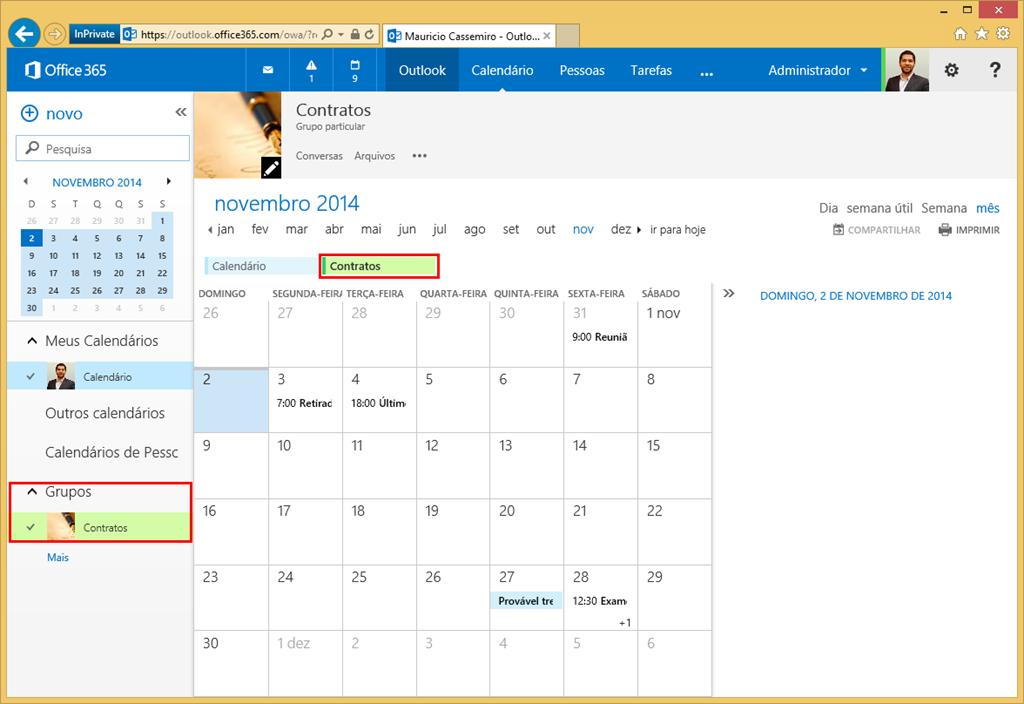 Calendario Office 365.Grupos De Colaboracao Do Office 365 Artigos Technet