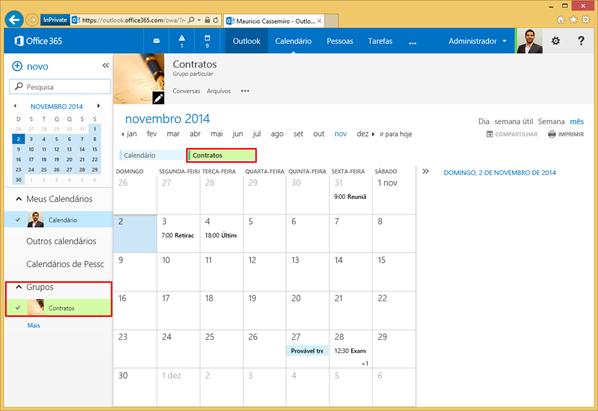Calendários de Grupos de Colaboração do Office 365