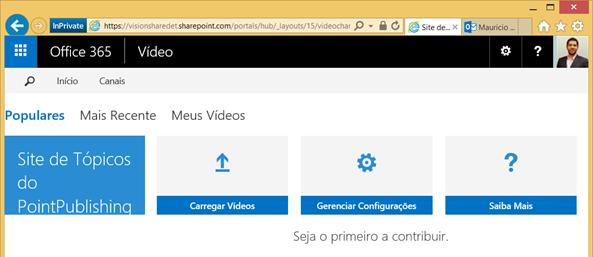 Dashboard para submeter conteúdo
