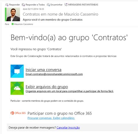 E-mail de notificação sobre criação de um Grupo de Colaboração