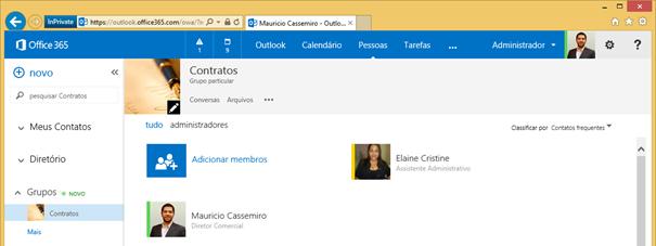 Membos dos Grupos de Colaboração do Office 365