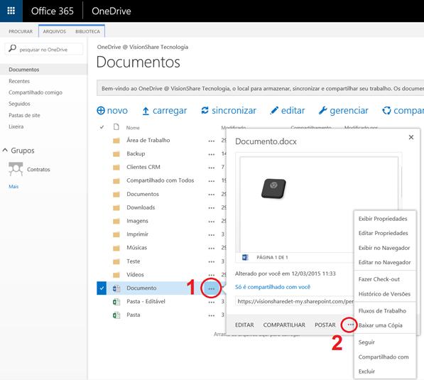 Menu Contextual atual para ações comuns do OneDrive for Business
