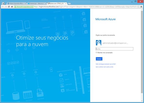 Autenticando-se no Windows Azure Portal