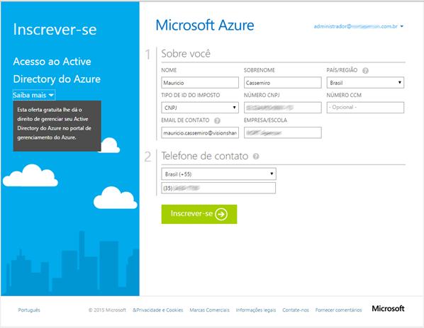 Formulário de Inscrição do Microsoft Azure AD do Office 365