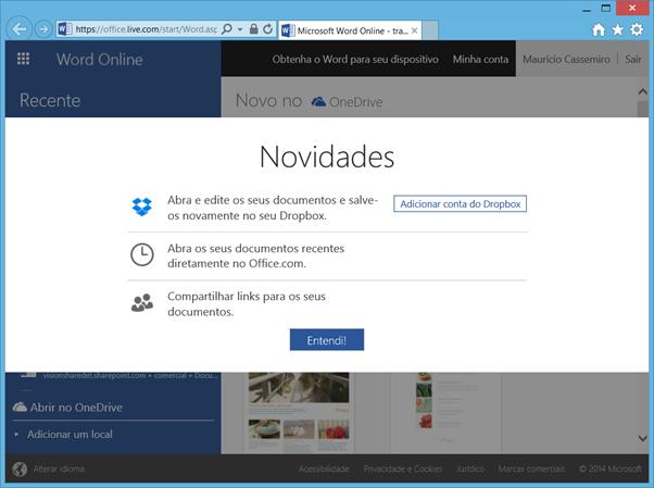 Integração do Dropbox com o Microsoft Office Online
