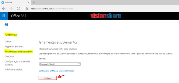 Office 365 > Software > Dynamics CRM para Outlook