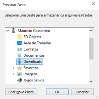Extraindo arquivos para um diretório