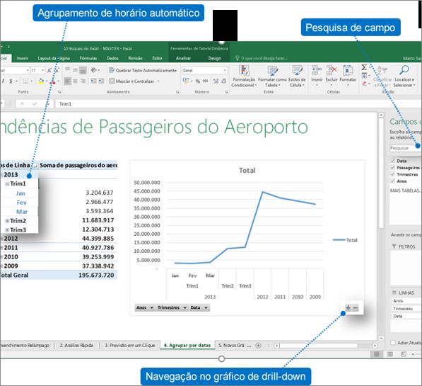 Agrupamento de tempo automático - Excel 2016