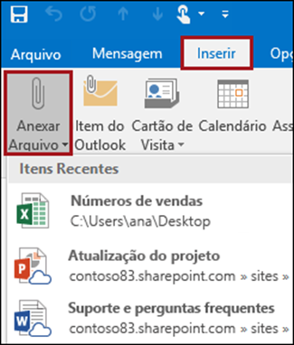 Anexos de e-mail no Outlook 2016