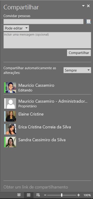 Compartilhamento no Office 2016