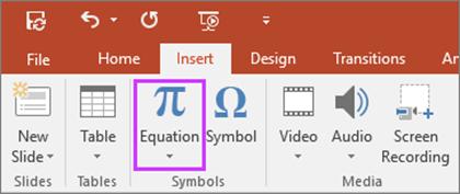 Entrada à tinta para Equações - PowerPoint 2016