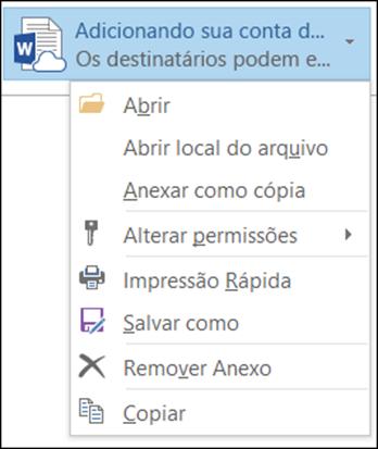 Gerenciando itens anexados a um email no Outlook 2016