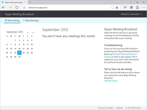 Página Incial - Skype Meeting Broadcast