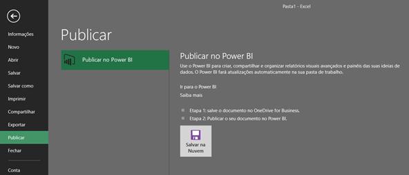 Publicar relatórios no Power Bi - Excel 2016