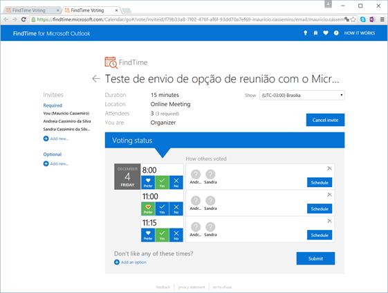 Detalhes de votação do Microsoft FindTime App