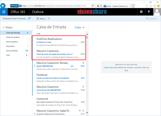 Notificação por email do Microsoft FindTime App