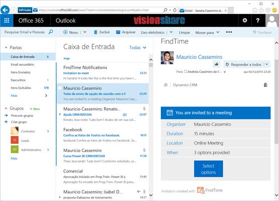 Detalhes de notificação por email do Microsoft FindTime App