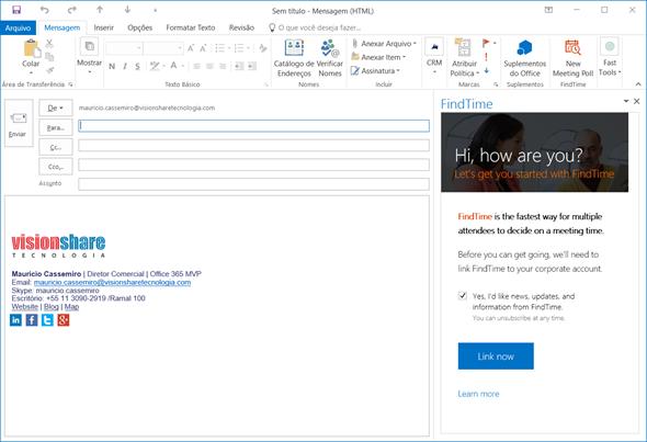 Iniciando a App no Outlook 2016
