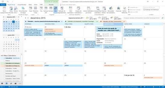 Resultado do agendamento automatico no Outlook/Exchange