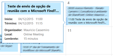 Resultado do agendamento automatico no Outlook/Exchange - Zoom