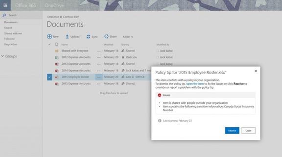 DLP aplicada ao SharePoint e OneDrive for Business